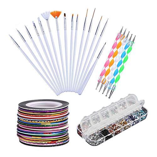 Haobase Nagelstudio-Sets, 30 Streifenband 12 Farben Strasssteine 5pcs Punktierstift 15pcs Nail Art Brushes Set