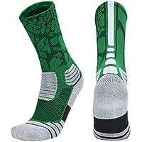 LIOOBO Calcetines de Baloncesto de élite Calcetines de fútbol atlético Calcetines de Boxeo Antideslizantes Calcetines Deportivos para Hombres (Verde 43-46)