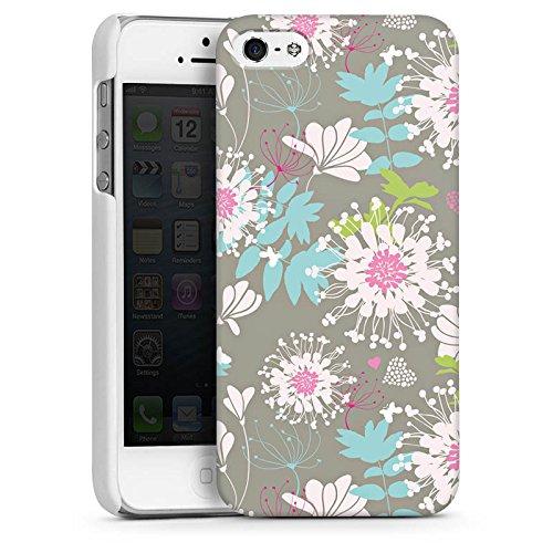 Apple iPhone 5s Housse Étui Protection Coque Fleurs Fleurs Déco CasDur blanc