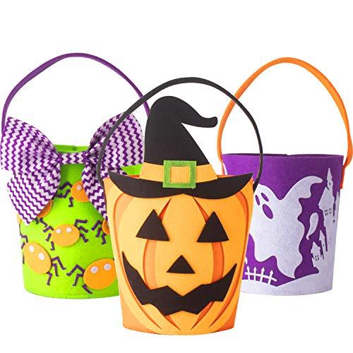 Halloween Eimer Korb Trick or Treat Taschen Set von 3 Filz Goody Körbe für Kinder Kleinkinder Jungen Mädchen von Art Beauty