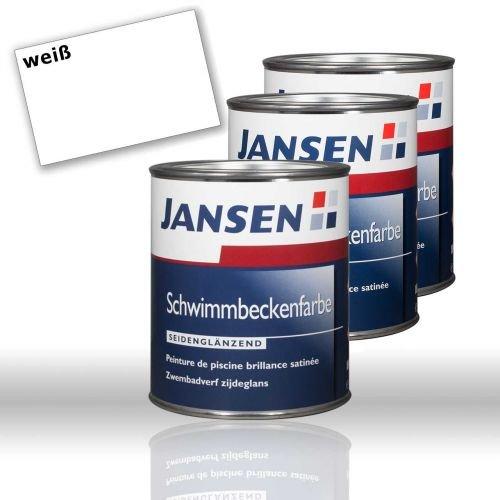 3 x Jansen Schwimmbeckenfarbe weiß 0,75l