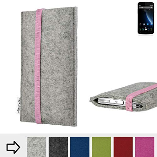 flat.design Handy Tasche Coimbra mit Gummiband-Verschluss für Doogee X6S - Smartphone Schutz Case Etui Filz Made in Germany in hellgrau rosa - passgenaue Handyhülle für Doogee X6S