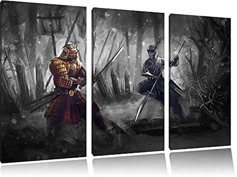 Kampf zwischen Samurai und Ninja B&W Detail 3-Teiler Leinwandbild 120x80 Bild auf Leinwand, XXL riesige Bilder fertig gerahmt mit Keilrahmen, Kunstdruck auf Wandbild mit Rahmen, gänstiger als Gemälde oder Ölbild, kein Poster oder (Hot Ninja Kostüm)