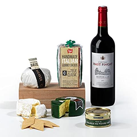 Red Wine, French Pate, Cheddar and Brie Cheese with Crackers Hamper Box