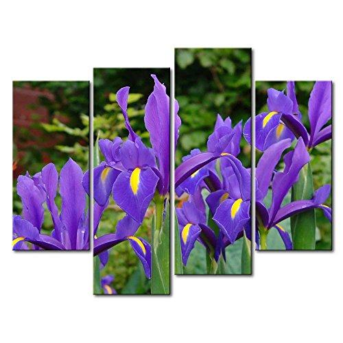 Leinwanddruck Bild für Home Decor Deep Purple Iris 4Gemälde Moderne Giclée-gespannt und gerahmt-Kunstwerken Öl die Blume Bild Foto Druck auf Leinwand (Purple Iris-bild)