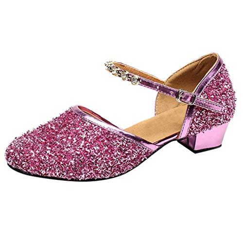 Tanzschuhe Damen Standard Latein Funkeln Dance Schuhe Ballsaal Salsa Tango Tanzen Schuhe Hochzeit Abendschuhe Knöchelriemen, Celucke Klassische Pumps Elegante Brautschuhe (Pink, 35 EU)