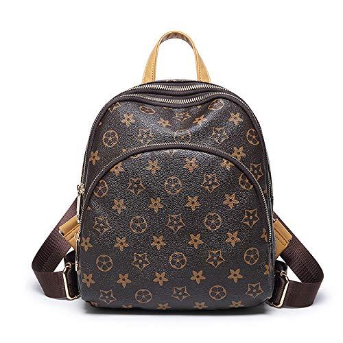 LFGCL Damentaschen Rucksack einfaches und stilvolles altes Blume GD Material für Freizeitreiserucksack, braun