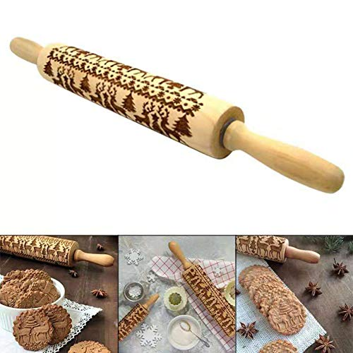 SLONG Christmas Elk Printed Rolling Pin Elm Laser Graved Embossed Rolling Pin Cookie Stick (Cookie-projektor)