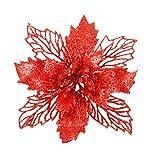 Vosarea 6 unids Artificial Flor de Pascua Flores Brillantes Hollow Adornos Florales de Navidad Decoración para El Hogar para el árbol de Navidad Ventana de la Puerta