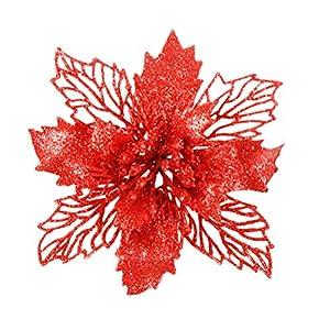 Garneck 6pcs Flores Artificiales de la Flor de Pascua Que Brillan Hueco Adornos Florales de Navidad decoración para el…