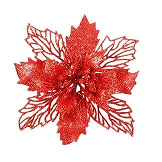 Garneck 6pcs Flores Artificiales de la Flor de Pascua Que Brillan Hueco Adornos Florales de Navidad decoración para el hogar para la Puerta de la Ventana del árbol de Navidad (Rojo)