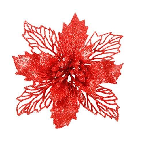 6 pz fiori poinsettia artificiale scintillante vuoto natale ornamenti floreali decorazioni per la casa albero di natale porta finestra (rosso)