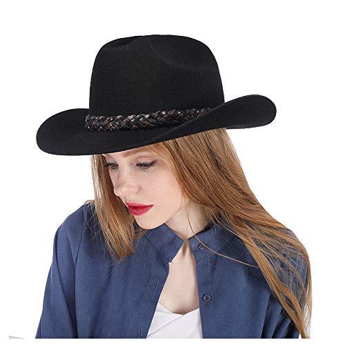 Vintage Western Wear (LIXUE Vintage Black Bailey Hut Cowboy-Hut 100% Wolle fühlte Frauen kleine Cassidy Crown Country Western Wear Outback-Stil (Farbe : Schwarz, Größe : 57-58 cm))