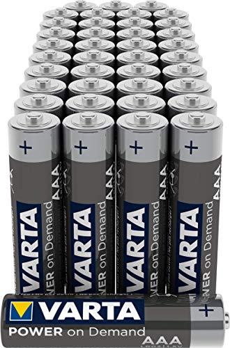 VARTA Power On Demand - Pilas alcalinas AAA / LR03 / Micro (Pack de 40 Unidades, 1.5 V)