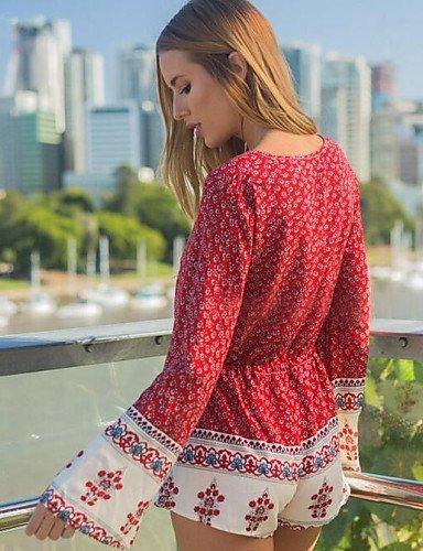 GSP-Combinaisons Aux femmes Manches Longues Sexy / Décontracté Polyester Fin Micro-élastique red-xl