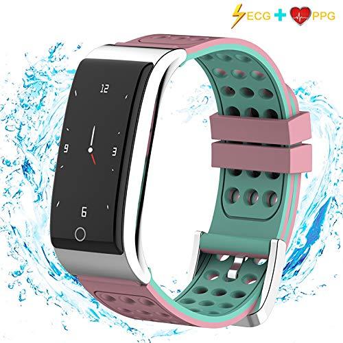ISWIM Fitness Tracker,ECG &PPG Orologio Fitness Activity Tracker Cardio Impermeabile IP67 Smartwatch Cardiofrequenzimetro da Polso,Unisex (Rosa)