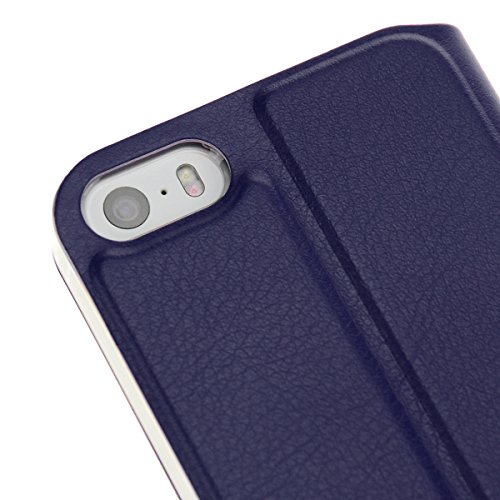 doupi Deluxe FlipCover pour iPhone 4 iPhone 4S ( RedPink ) FlipCase Flip Magnet Cover Case Couverture Book Style Stand Protecteur d'écran - Rouge Rose DarkBlue