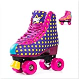 Bliss Rollerskates Mädchen Rollschuhe Damen - Indoor Outdoor Roller Skates Größe 31-42 Rollschuh Rockstar Edition (rosa, 39)