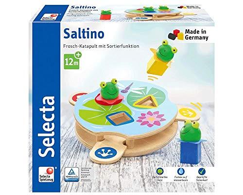 Selecta 62072 Saltino, Frosch-Katapult, Motorikspielzeug aus Holz, Bunt