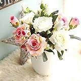 Fleurs Artificielles,Fleur Plastique Fausse Fleur Roses 9 Chefs en Soie Bouquet Mariage pour fête de Jardin à la Maison Décor(rose-blanc)