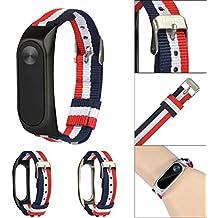 Gusspower Correa de nylon de tres colores,Banda de repuesto ajustable de nylon ligero Correa deportiva Para XIAOMI MI Band 2 (Plata)
