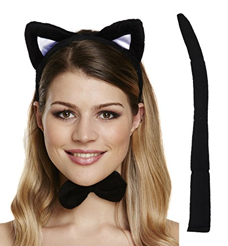 (Black Cat Set Ears, Tail & Bow TIe Fancy Dress Halloween Party Accessory)