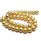 BeadsnFashion Glass Pearl Round Beads for Men and Women (Ivory, 8mm)
