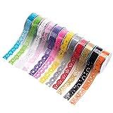 Lot de 12 rouleaux de ruban auto-adhésif transparent à motif dentelle en papier washi - Pour loisirs créatifs et décorations faites maison - Couleur au choix mais motif aléatoire - 100 x 1,8 cm