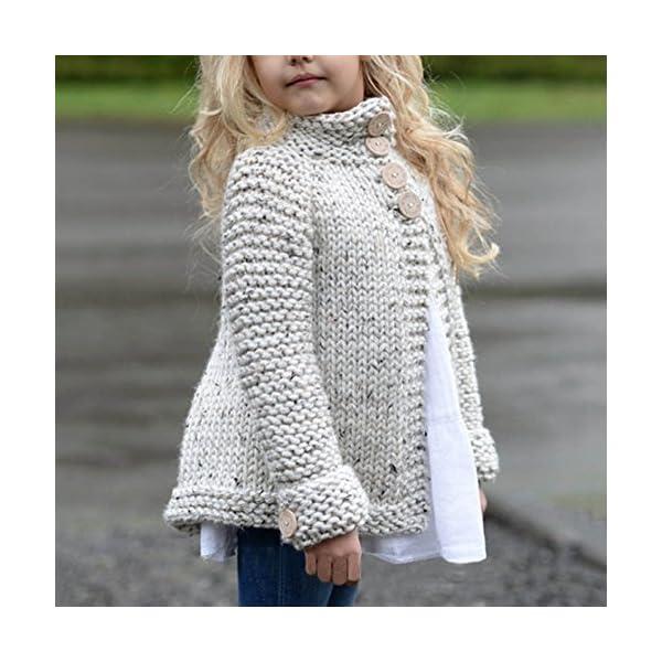 Ropa Niña Otoño e Invierno Chaqueta de Punto Abrigos Cremallera Espesar Peluche Color sólido Suéter Chaqueta Tejido de… 2