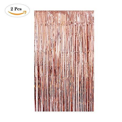 Tumao Rose Gold Metallic Tinsel Vorhänge, 2 Stück Folie Fringe Shimmer Vorhang,Geburtstag Dekorationen Party liefert Kit,Geburtstag Hochzeit Foto Booth Dekorationen. (Pet-tür-wand-kit)