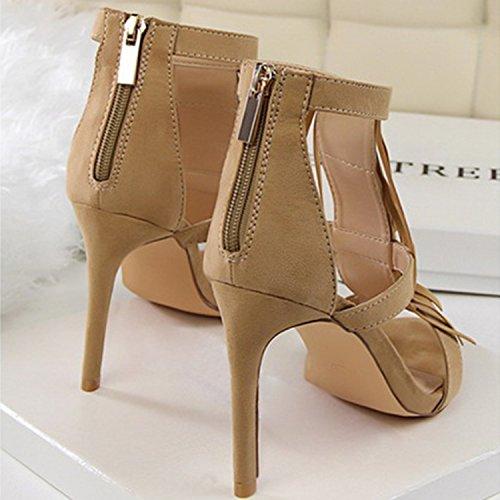 Oasap Women's Fashion Peep Toe High Heels Fringe Sandals Black