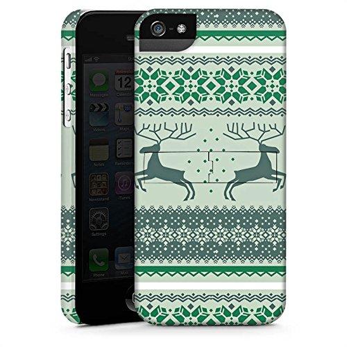 Apple iPhone X Silikon Hülle Case Schutzhülle Rentiere Weihnachten Norwegermuster Grün Premium Case StandUp