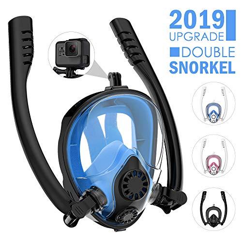 HENGBIRD Máscara de Buceo Integral Máscara de Esnórquel Anti-Vaho Anti-Fuga Gafas Cara Completa 180 ° Visible Apoyo Camara Deportiva (Two Tube Black-Blue L)
