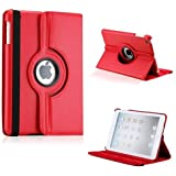 Red Rotating 360 Degree Leather Case Cover with Screen Protector and Stylus Pen for iPad 2/3/4 (Red)