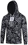 Pizoff Unisex Hip Hop Sweatshirts Kapuzenpullover mit Halloween 3D Digital Print geschenke paisley floral blumen pflanze