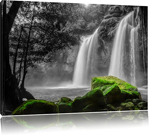 traumhafter Wasserfall im Dschungel schwarz/weiß Format: 100x70 auf Leinwand, XXL riesige Bilder fertig gerahmt mit Keilrahmen, Kunstdruck auf Wandbild mit Rahmen, günstiger als Gemälde oder Ölbild, kein Poster oder Plakat -