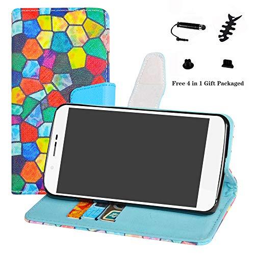 LFDZ Archos 55 Helium Hülle, [Standfunktion] [Kartenfächern] PU-Leder Schutzhülle Brieftasche Handyhülle für Archos 55 Helium / 55 Helium Ultra Smartphone (mit 4in1 Geschenk Verpackt),Stained Glass