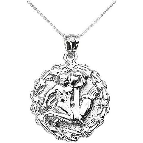 Donne Collana Pendente Argento Sterling 925 Acquario Febbraio Zodiaco Simbolo Tondo (Viene Fornito Con Una Catena Da 45cm)