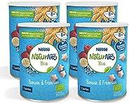 Naturnes Bio Nutripops Banaan Framboos 10+ Maanden Baby Tussendoortje - 4 Hersluitbare Blikjes - babyvoeding