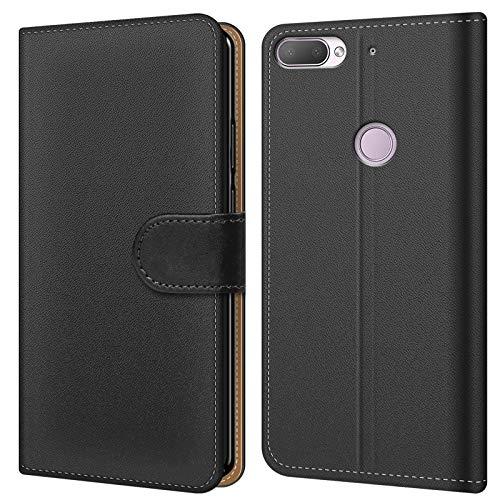 Conie BW4767 Basic Wallet Kompatibel mit HTC Desire 12, Booklet PU Leder Hülle Tasche mit Kartenfächer & Aufstellfunktion für Desire 12 Case Schwarz
