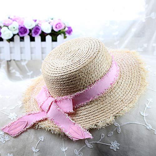 shunlidas Hüte Dekorationen Fischerhutflat-Toped Strand Strohhut Sonnenschirm Retro-Hut, Einstellbar, Schmetterling Bogen Pink Ribbon Hat