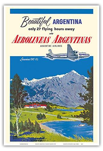 belle-argentine-aerolineas-argentinas-luxueux-douglas-dc-6s-avion-affiche-ancienne-vintage-companie-