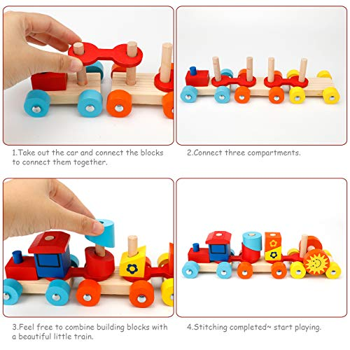 EXTSUD Building Block Train Toys Wooden Stacking Train Set, Pull Truck Toy for Geometry Learning, Toy Wooden Geometric Stacker Toy Pull Along Train Toy Early Educational Toy for Toddler Kids Baby