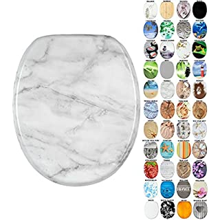 Soft Close Toilet Seat | Stable Hinges | Easy to mount | Many Different Designs (Marble)