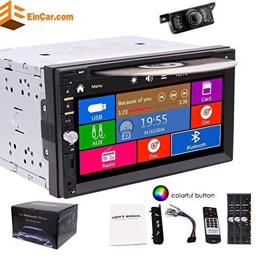 EINCAR Double 2 DIN In Dash GPS Navigation 3 Typen Uis Auto DVD-Spieler Touch Screen Auto-Stereokopfeinheit mit Bluetooth USB Sd MP3-AM/FM-Radio-Receiver + Free Backup-Kamera und Fernbedienung (W Fm Am / Radio Remote)