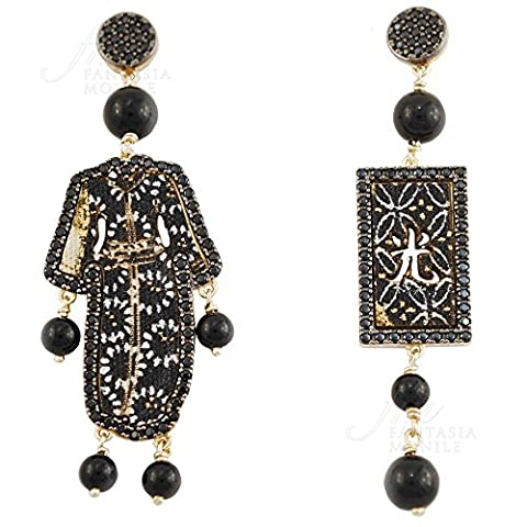 Boucles d'oreilles Lebole Kimono Must Argent Soie Spinelli noirs Black 35j36fm