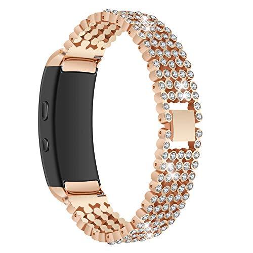 xMxDESiZ Smart Strass Uhrenarmband Armband Zubehör für Samsung Gear Fit 2 Rose Gold - Sigma Sport Fit Watch