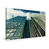 Premium Textil-Leinwand 90 cm x 60 cm quer, Spiegelnde Glassfassaden eines Hochhauses mit Himmelsblick   Wandbild, Bild auf Keilrahmen, Fertigbild auf mit spiegelnder Glasfassade (CALVENDO Orte)