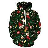 Luckycat Unisex 3D Druck Weihnachten Hoodie Kapuzenpullover Langarm Sweatshirt Pullover Kapuzenjacke Kapuzenpulli mit Taschen