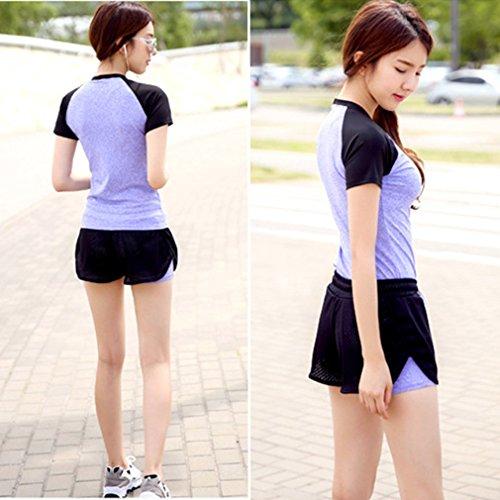 REALLION Femmes 2 Pièces Ensembles de Yoga (T-shirt à manches courtes + Shorts ) Sportswear à respirant, Hygroscopique et à Séchage Rapide Violet et noir